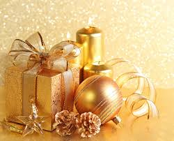 Pine Cone Candles Photo Christmas Gold Color Present Balls Ribbon Candles Bowknot Pine