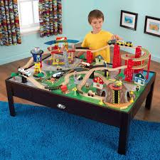 kids activity table wooden train set toddler toys boys arts crafts play cars new