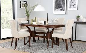 gallery townhouse oval dark wood extending dining table and 4 chairs