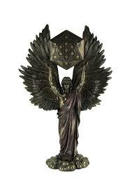 Veronese Design Angels Veronese Design Archangel Metatron Holding Up Sacred Geometry Cube Statue