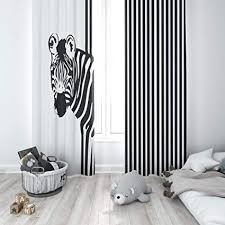 Factory4me Zebra Window Curtains | Modern Black and White Striped Print Curtain Panel Set | Ideal for Bedroom, Living Room, Kitchen | L84 x W84