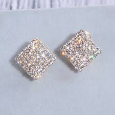 Wedding Earrings Design Us 2 5 26 Off New Design Fashion Gold Color Square Stud Earrings Luxury Elegant Crystal Rhinestone Earrings Wedding Earrings For Women Wx200 In Stud