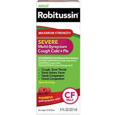 Robitussin Adult Maximum Strength Severe Multi Symptom Cough Cold Flu Liquid 8 Fl Oz