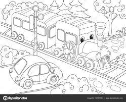 漫画電車車漫画のベクトル図子供のための塗り絵 ストックベクター