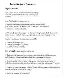 Examples Of Objective Statements On Resumes 9 Resume Objective Statement Samples Examples Templates