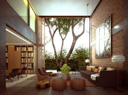 living roomexposed brick wall with brown sofa also floor lamp and glass coffe table brick living room furniture