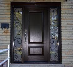 Splendid Home Exterior With Fiberglass Door With Sidelights And - Iron exterior door
