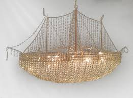 20th century french crystal ship chandelier