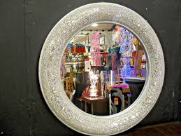 details about round le bow design wall mirror silver frame mosaic glass 80cm handmade