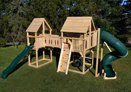 triumph play system s bailey wooden swing set with tire swing and super large play deck