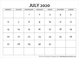 July 2020 Calendar Monday Start July Month Template