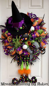 XL Deco Mesh Halloween Witch Wreath in Green, Purple, Black & Orange, Fall