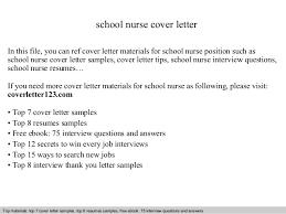 School Nurse Cover Letter