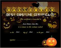 Halloween Costume Certificate Templates Cardiffbay Info