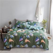 2018 dark green leaves bedding set 100 fabric twin queen king size 3 print duvet cover flat sheet pillowcases blue and white bedspread duvet sheet