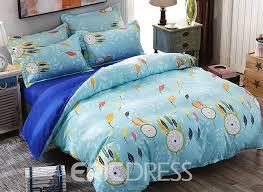 vivilinen blue dream catcher and leaves prints polyester 4 piece bedding sets duvet covers
