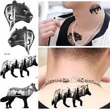 лес временные татуировки для мужчин модные черные маленький волк тату наклейки