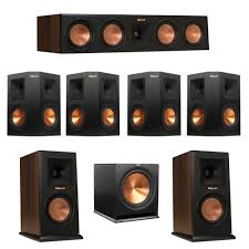 klipsch 7 1 walnut system with 2 rp 150m monitor speakers 1 rp 450c center speaker 4 klipsch rp 250s ebony surround speakers 1 klipsch r 115sw subwoofer