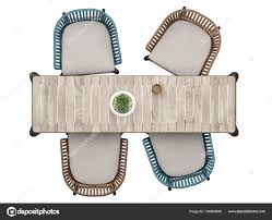 table and chairs top view. Top View Furniture, Mock Up Table With Four Chairs Isolated On White \u2014 Stock Photo And B