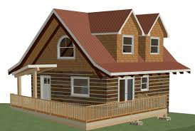3d model image of 672 sqft log cabin with 2 dormers