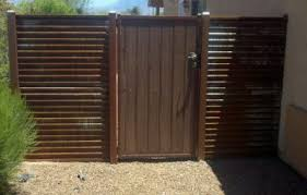 corrugated metal fence. Corrugated Steel Fence With Synthetic Wood Gate | CG102 Metal