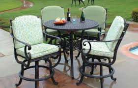 bar height patio chair: meadow decor athena  piece aluminum bar height patio set with fire pit table