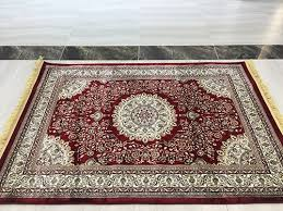 classic medallion red area rug persian sun design beige vines ivory border red green gold 32 x60 ter rug with fringes