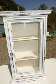 vintage french rustic upcycled shabby chic style two glass fronted wall cabinet