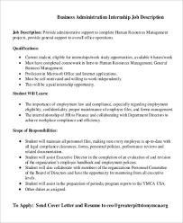 Admin Job Profile Resume Sample Business Administration Job Description 10