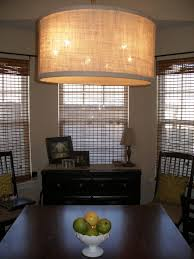 traditional dining room design diy large drum shade pendant light beige canvas espresso teak wood table