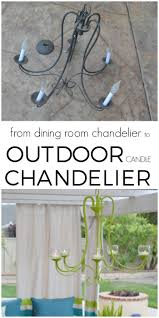 upcycled dining chandelier turned outdoor candle chandelier