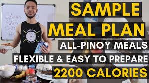 Vid 20 Sample Pinoy Meal Plan 2200 Calories Pinoy Diet Flexible Diet