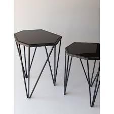 black metal outdoor furniture. Polygon İkili Camlı Metal Zigon Sehpa Siyah Black Outdoor Furniture