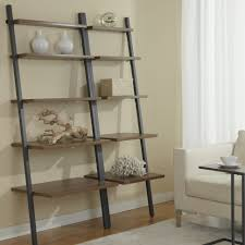 furniture barnwood ladder shelf metal leaning bookcase wooden with industrial open storage cabinets doors and shelves image bookshelf design simple e78 design