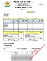 School Report Card Format Cbse Report Card Format For Primary Classes I To V