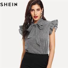 SHEIN Womens Gray Tied Neck Ruffle Sleeve <b>Summer Casual</b> ...
