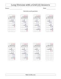 3 Digit By 1 Digit Long Division With Remainders With Grid