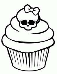 Small Picture Monster High Cupcake With Chic Skull On Top Coloring Page