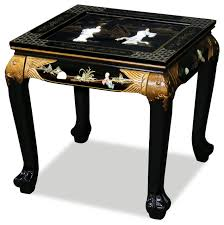 black lacquer mother of pearl figurine lamp table asian