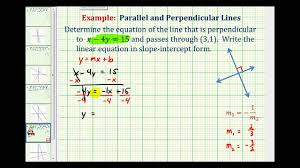ex 2 find the equation of a line perpendicular to a given line passing through a given point