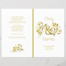 Wedding Program Scroll Gold Foil Ampersand Scroll Leaf Wedding Program