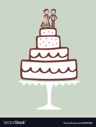 Wedding Cake With Topper Royalty Free Vector Image