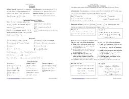calculus review sheet derivative cheat sheet worksheets for all download and share