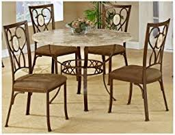 hilale brookside round 5 piece dining set with oval back chairs brown powder