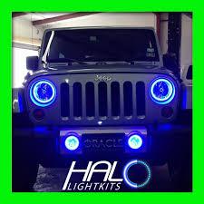 2007 2016 jeep wrangler blue plasma halo headlight light kit 2 rings by oracle