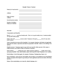 2019 Nanny Contract Template Fillable Printable Pdf