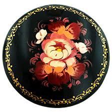 Flower Paper Mache Amazon Com Hand Painted Folk Design Flower Paper Mache Brooch Jewelry