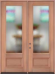 4 lite mahogany wood double door unit