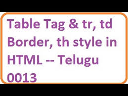 table tag and tr td border th style in html