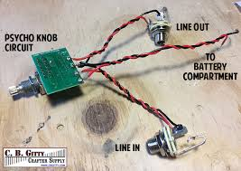 build a cigar box distortion unit this easy hack c b instead of installing the psycho knob inside a guitar cavity simply wire a 1 4 jack to the in lead and another 1 4 jack to the out lead above